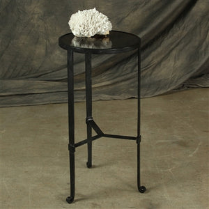 Savoy Iron & Stone Side Table - Black