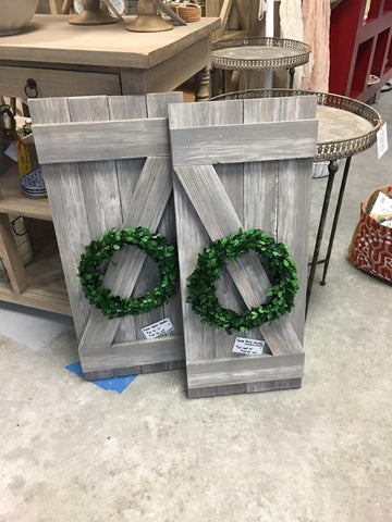 Barn Shutters with Boxwood Wreath