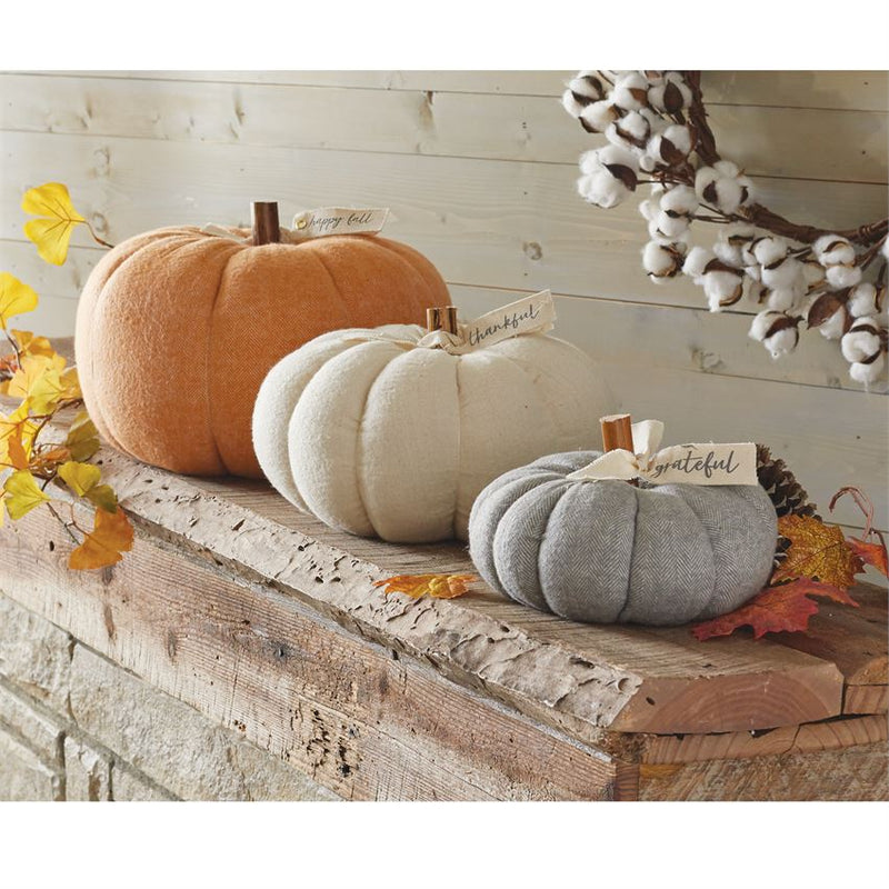 Stuffed Felted Wool Pumpkin - Orange
