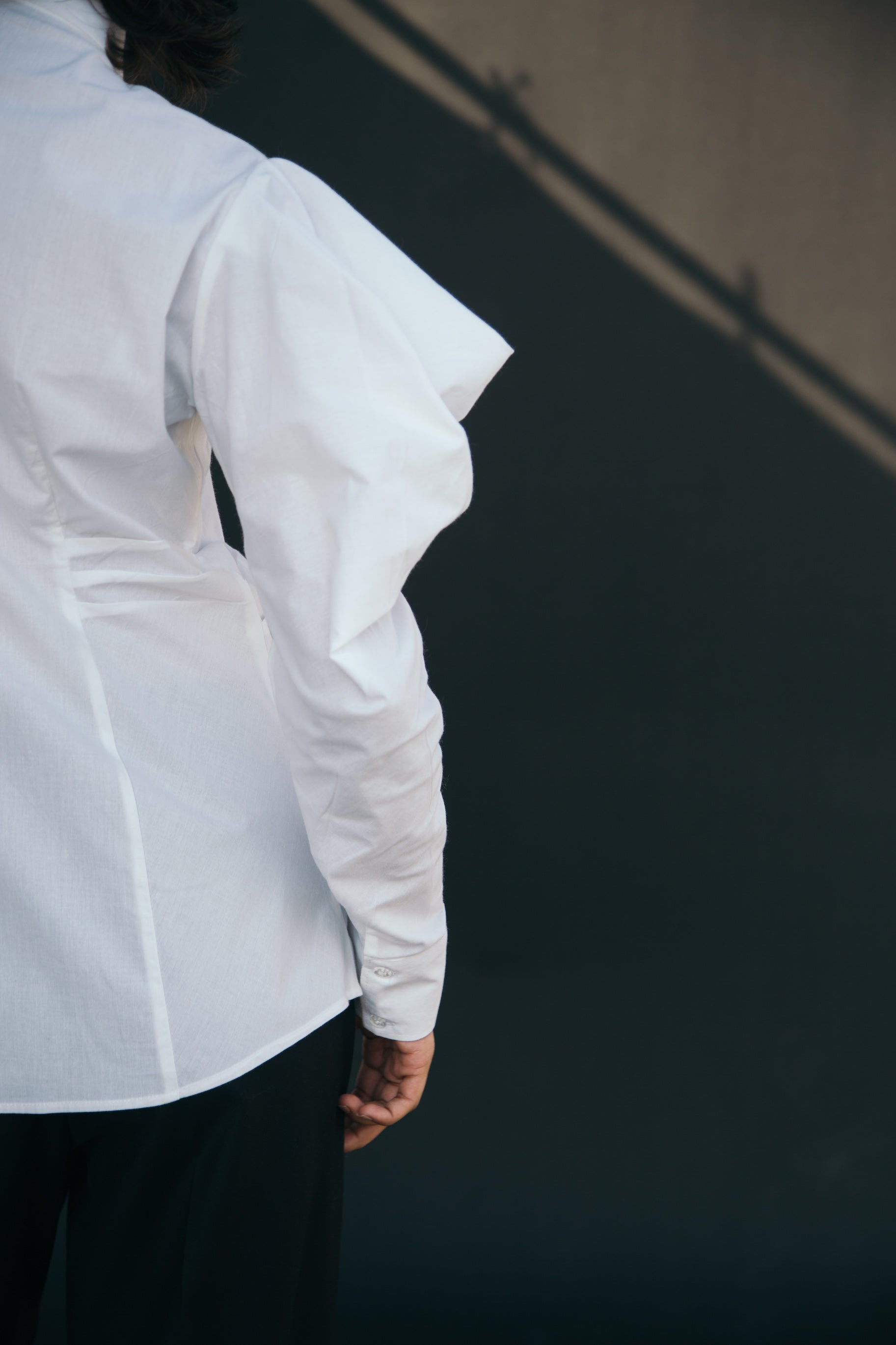 White shirt cowl sleeves