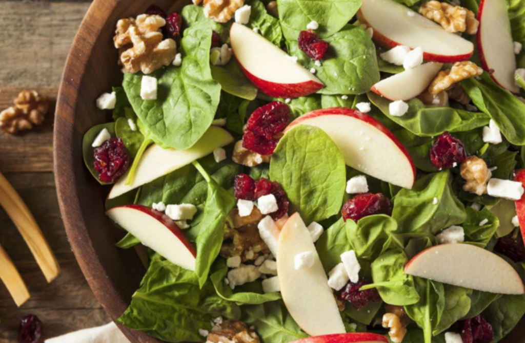 Autumn Apple Walnut Spinach Salad
