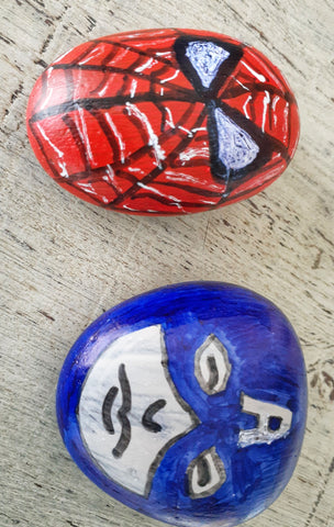 superheroes stones painting for kids