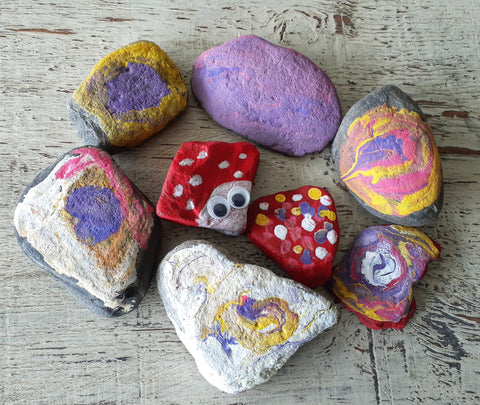 stones painting with kids