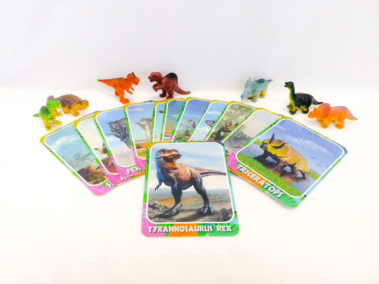 Dinosaurs figurines and dinosaur cards