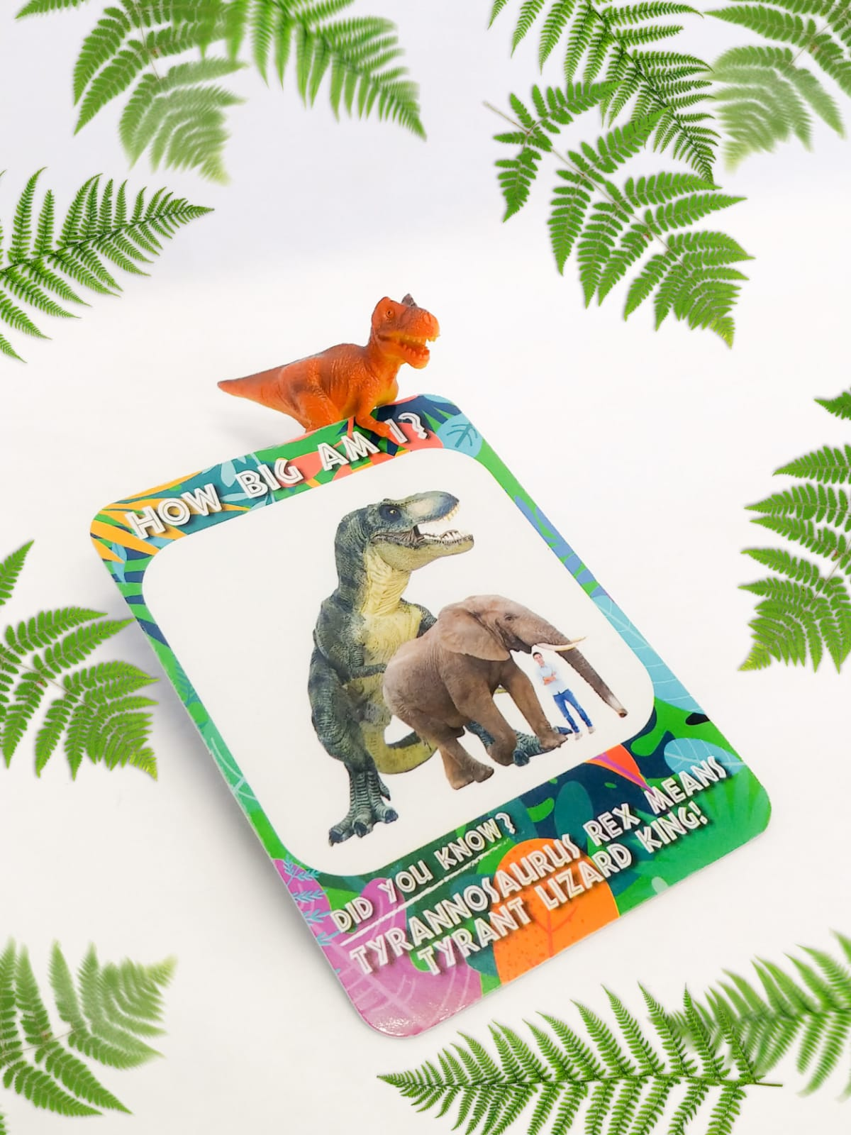 T-rex figurine and its matching card