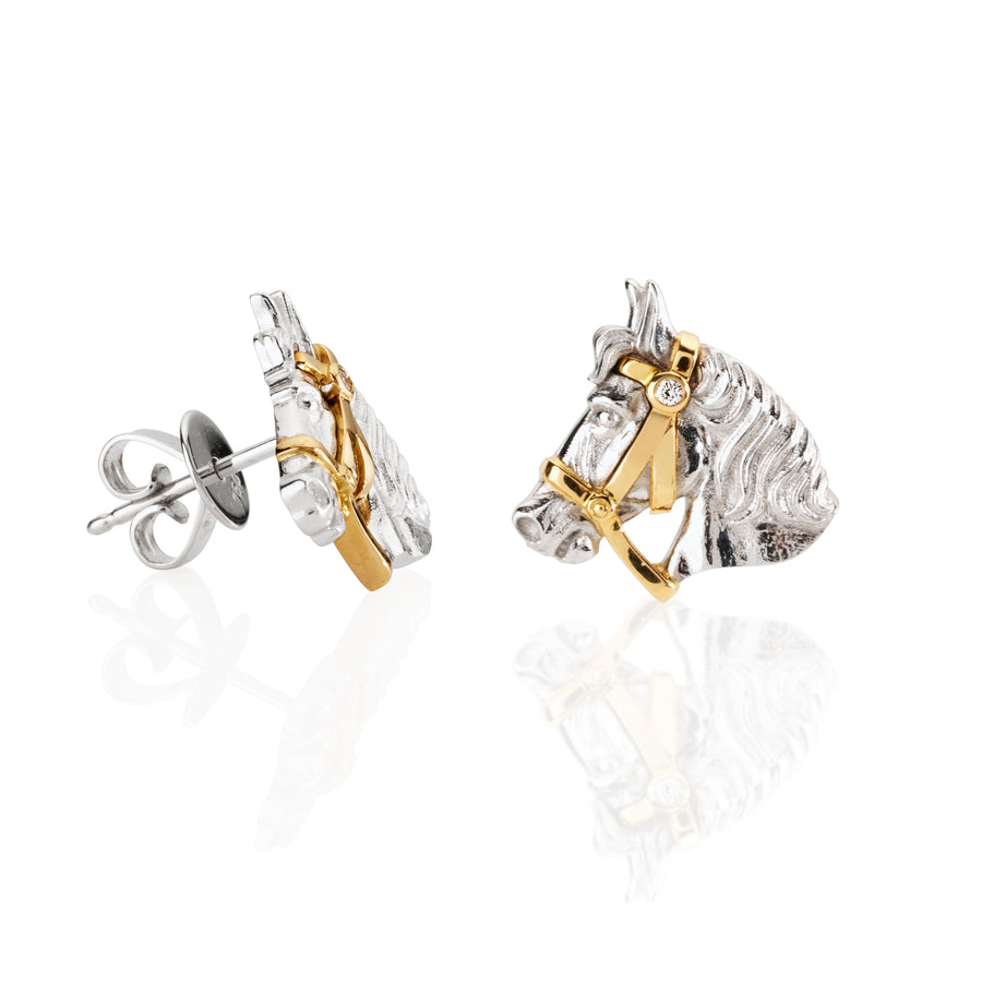 Horse and Bridle Earrings with Diamond