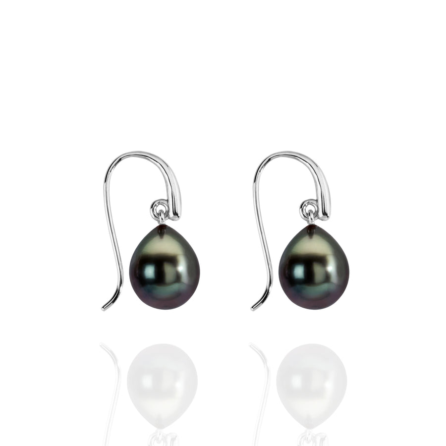 Tahitian pearl and white gold earrings
