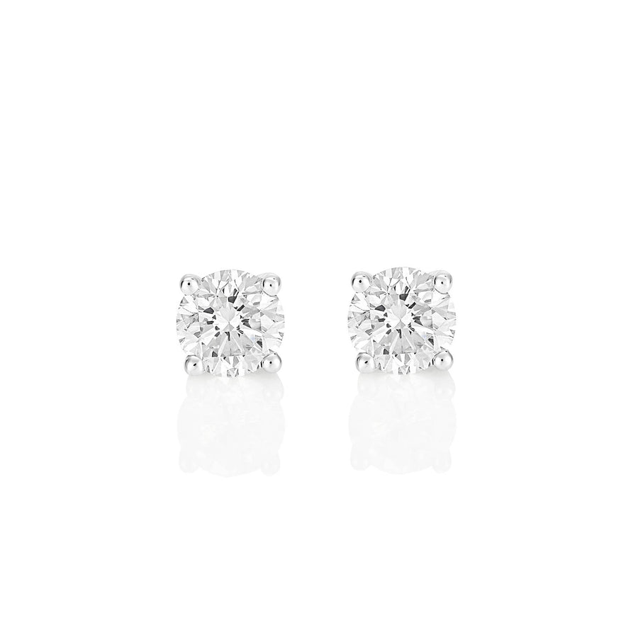 Palomino Solitaire Diamond Stud Earrings in 18 ct White Gold 1.00 ct