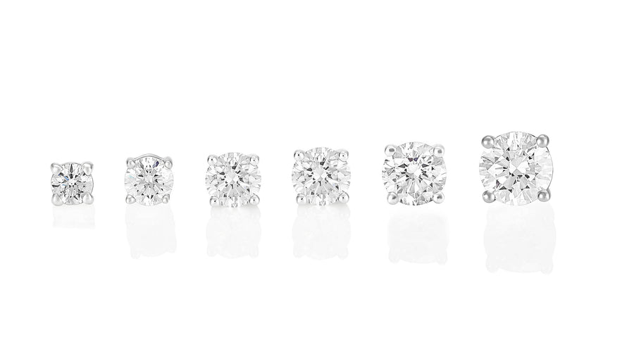 Palomino Solitaire Diamond Stud Earrings in 18 ct White Gold