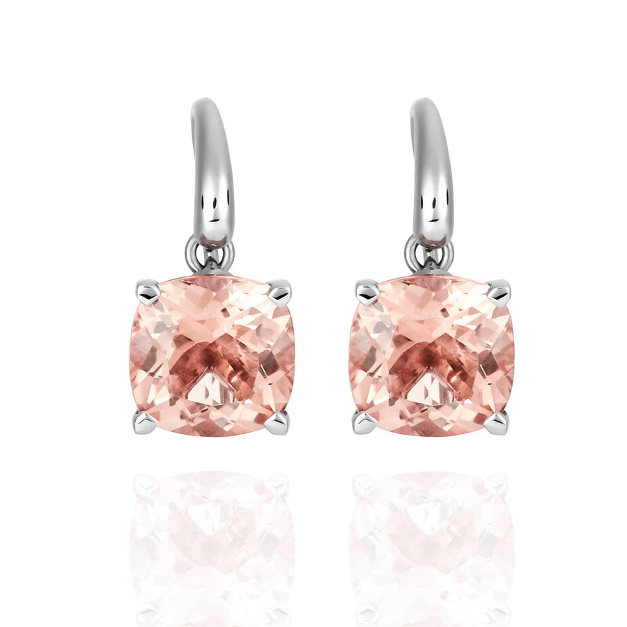 Palomino Natural Morganite Drop Earrings in 18 ct White Gold