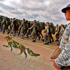 NuSapia Millitary fox walking alongside troops in solidarity