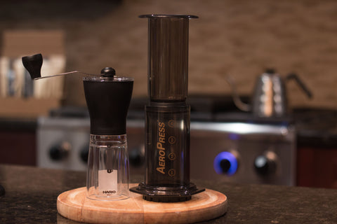 Aerobie AeroPress Coffee Maker (with 350 Filters, Funnel, Scoop & Stirrer) & Hario Slim