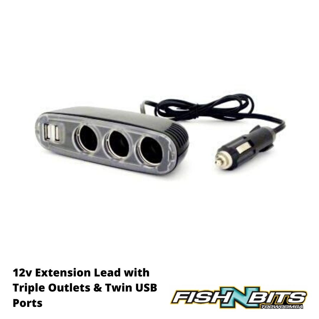 OZtrail - 12v Extension Lead with Triple Outlets &  Twin USB Ports