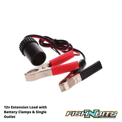 OZtrail - 12v Extension Lead with Battery Clamps & Single Outlet