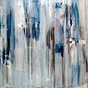 Blue and grey vertical abstract with illustrative lines drawn through