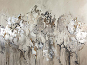 Beige with white abstract flowers