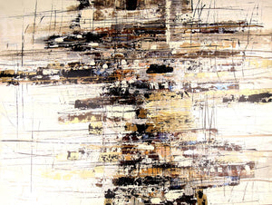 Yellow and beige with black textured abstract