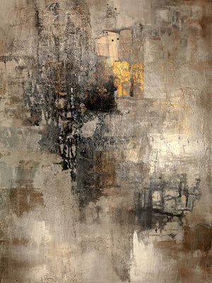 Beige  gold and black textured abstract