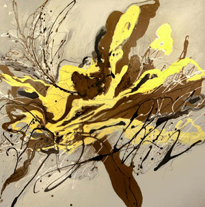 Brown  black and yellow paint splatter abstract