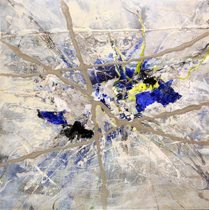 Blue  yellow and white/beige splatter paint abstract