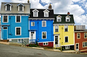 Colorful houses on hill in St. John's Newfoundland Canada