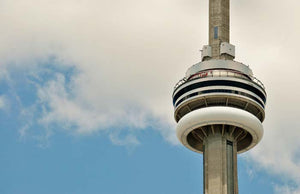 The CN Tower photographed on a bright summer afternoon.