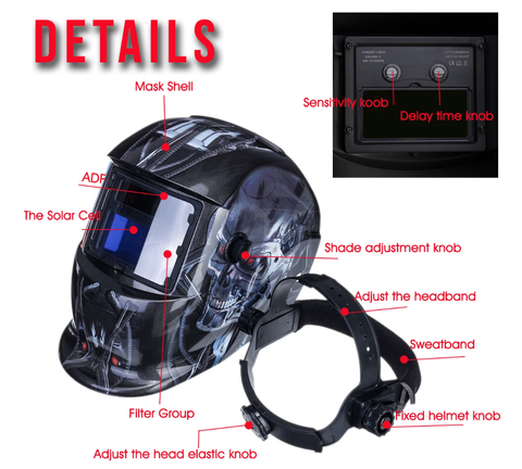 Details on DarkenX™ Auto Darkening Adjustable Welding Helmet Solar Shade Hood Lens