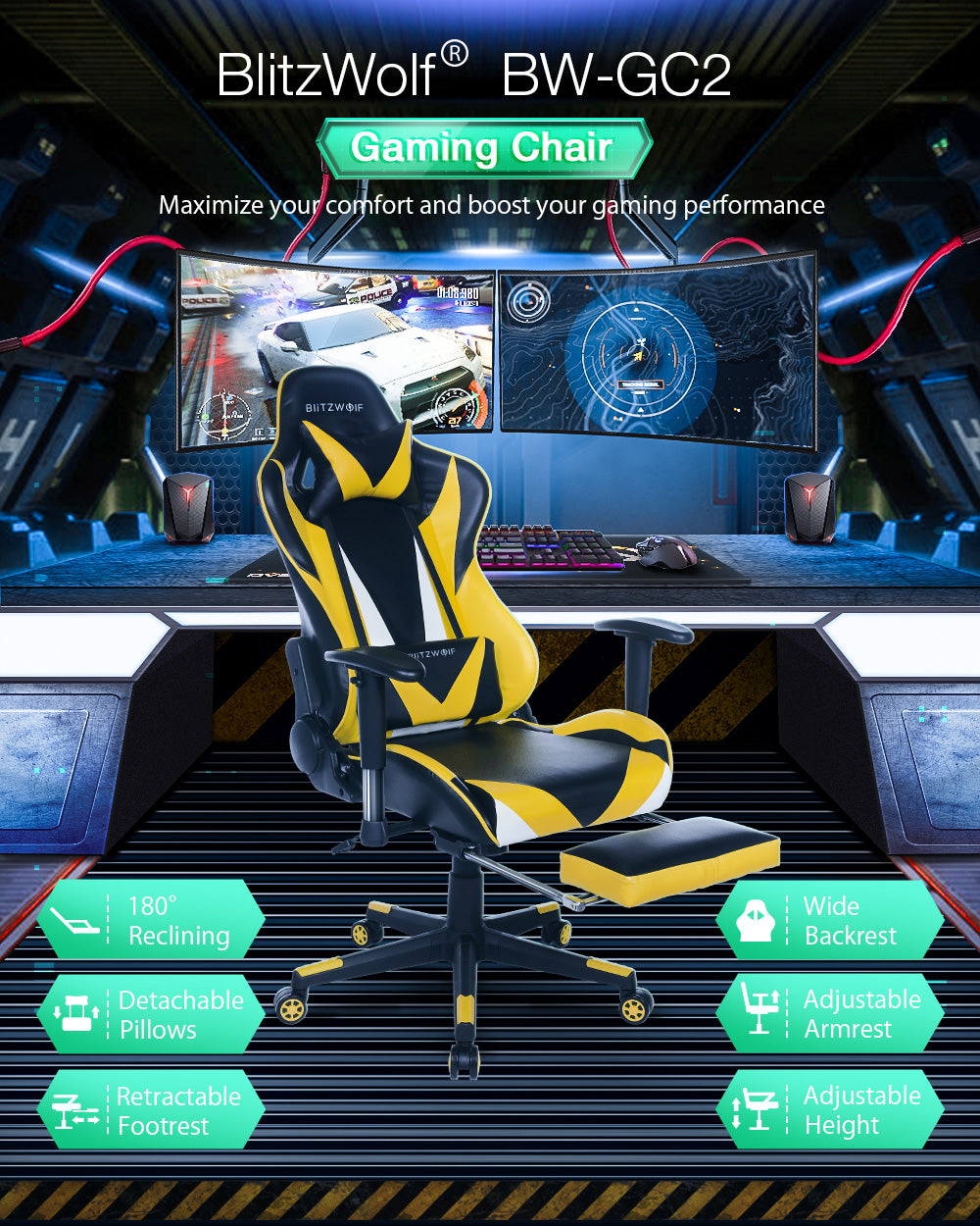 BlitzWolf™ Comfortable High Back Reclining Rolling Ergonomic Computer Gaming Home Office Chair with Footrest