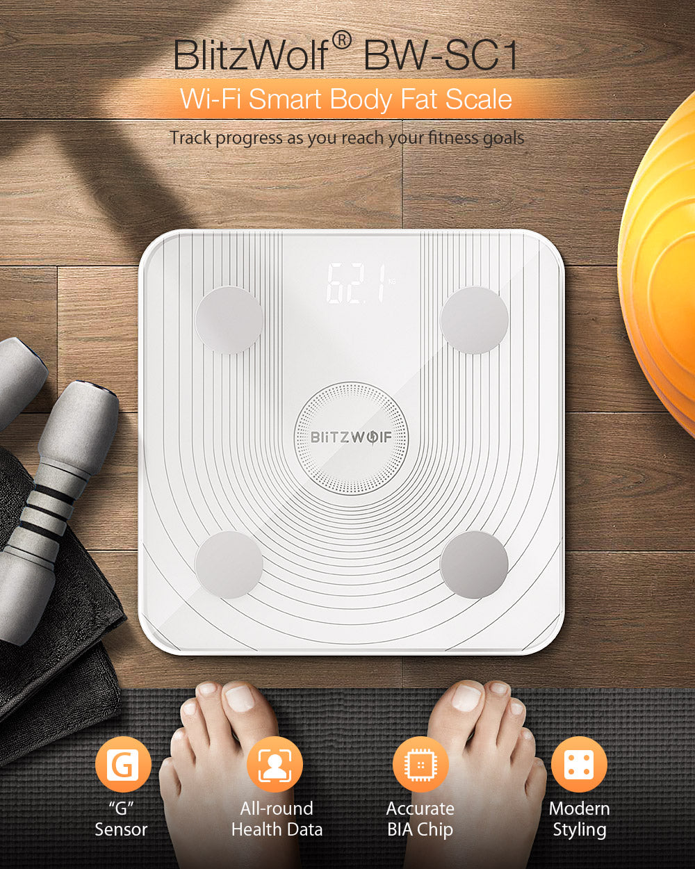 BlitzWolf™ Smart Digital Bathroom Body Fat Percentage Weight BMI Scale For Men & Women