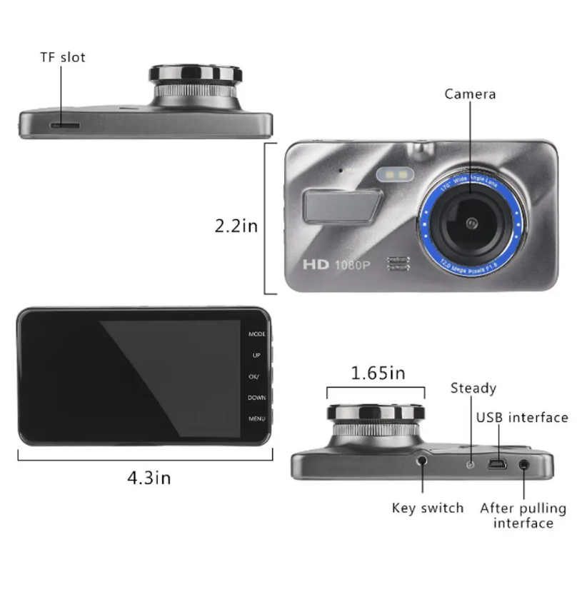RecMe™ Rear View Mirror Reverse Camera Dual Dash Cam Car Black Box dimensions