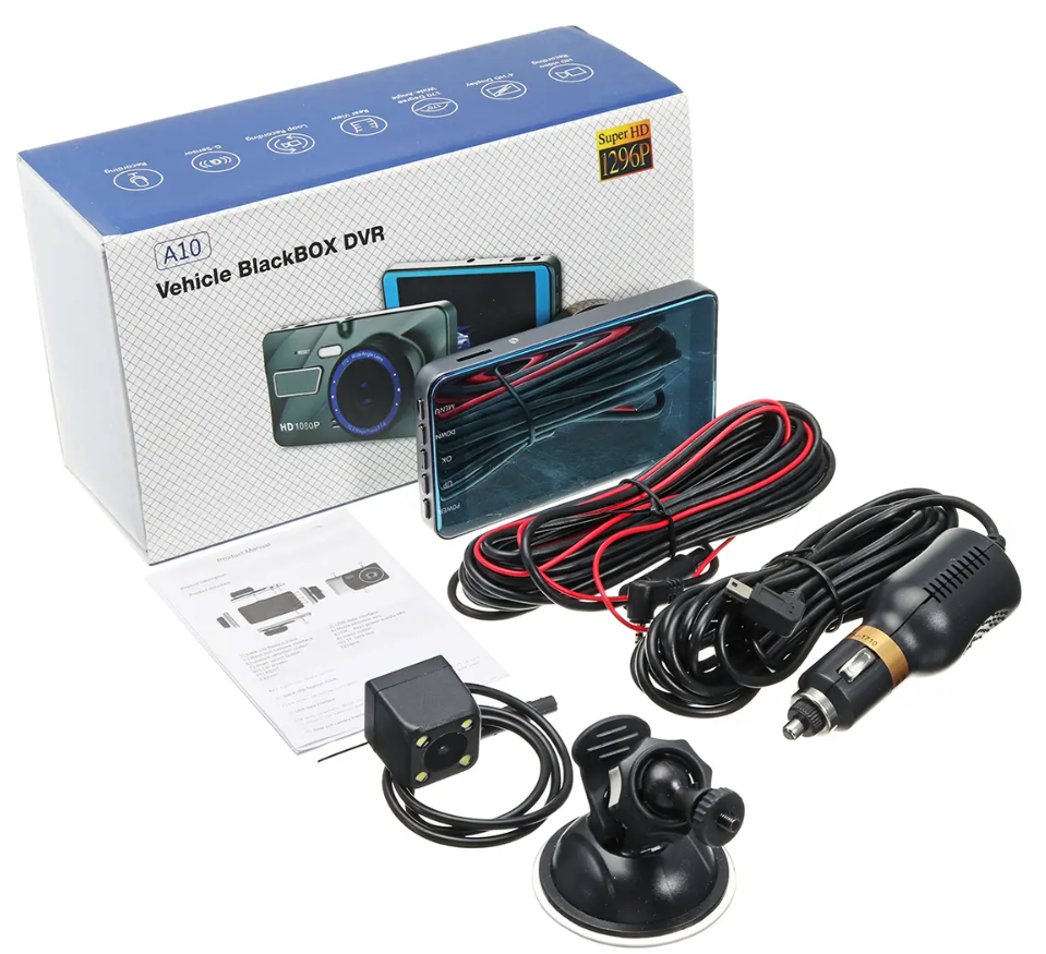 RecMe™ Rear View Mirror Reverse Camera Dual Dash Cam Car Black Box full package
