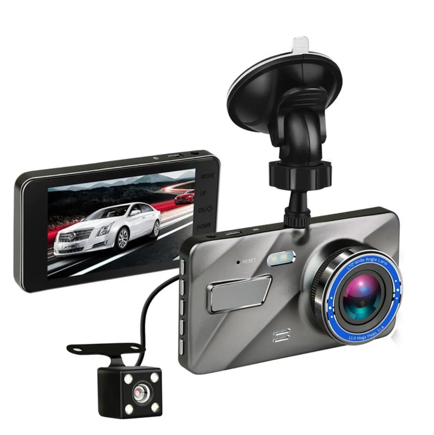 RecMe™ Rear View Mirror Reverse Camera Dual Dash Cam Car Black Box front and back view