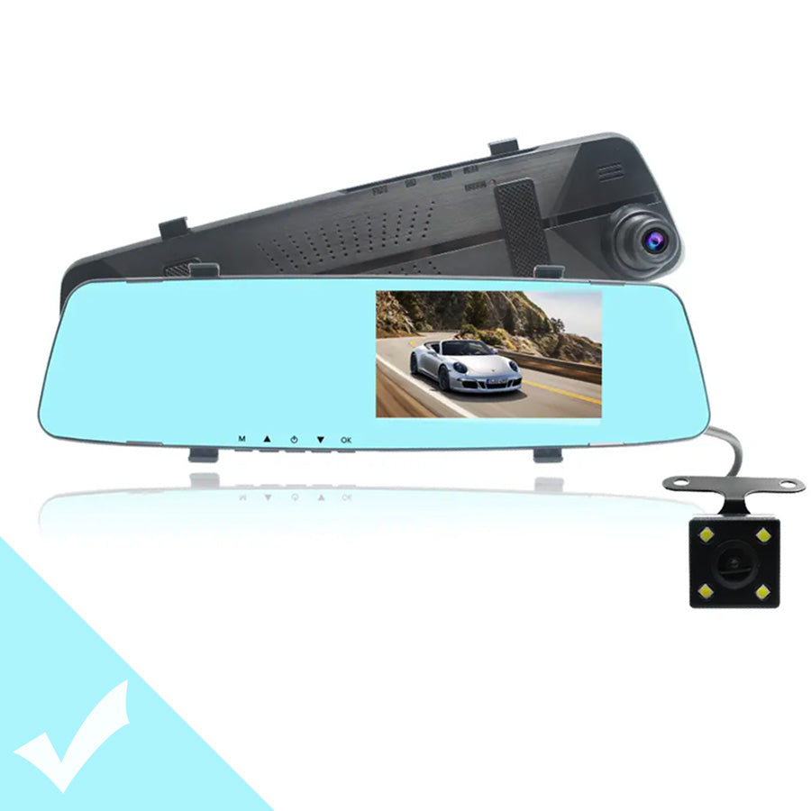 RecMe™ Dual Lens Vehicle Rearview Mirror Camera Recorder Car Dash Cam