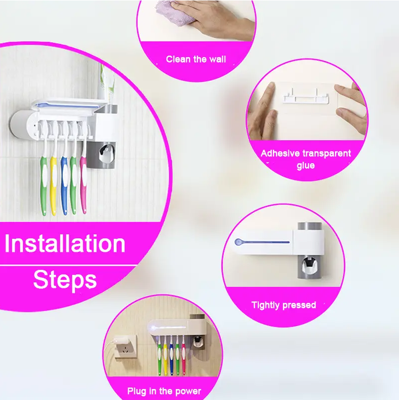 SterilX™ UV Toothbrush Sterilizer Toothpaste Dispenser Wall Mounted Holder installation steps