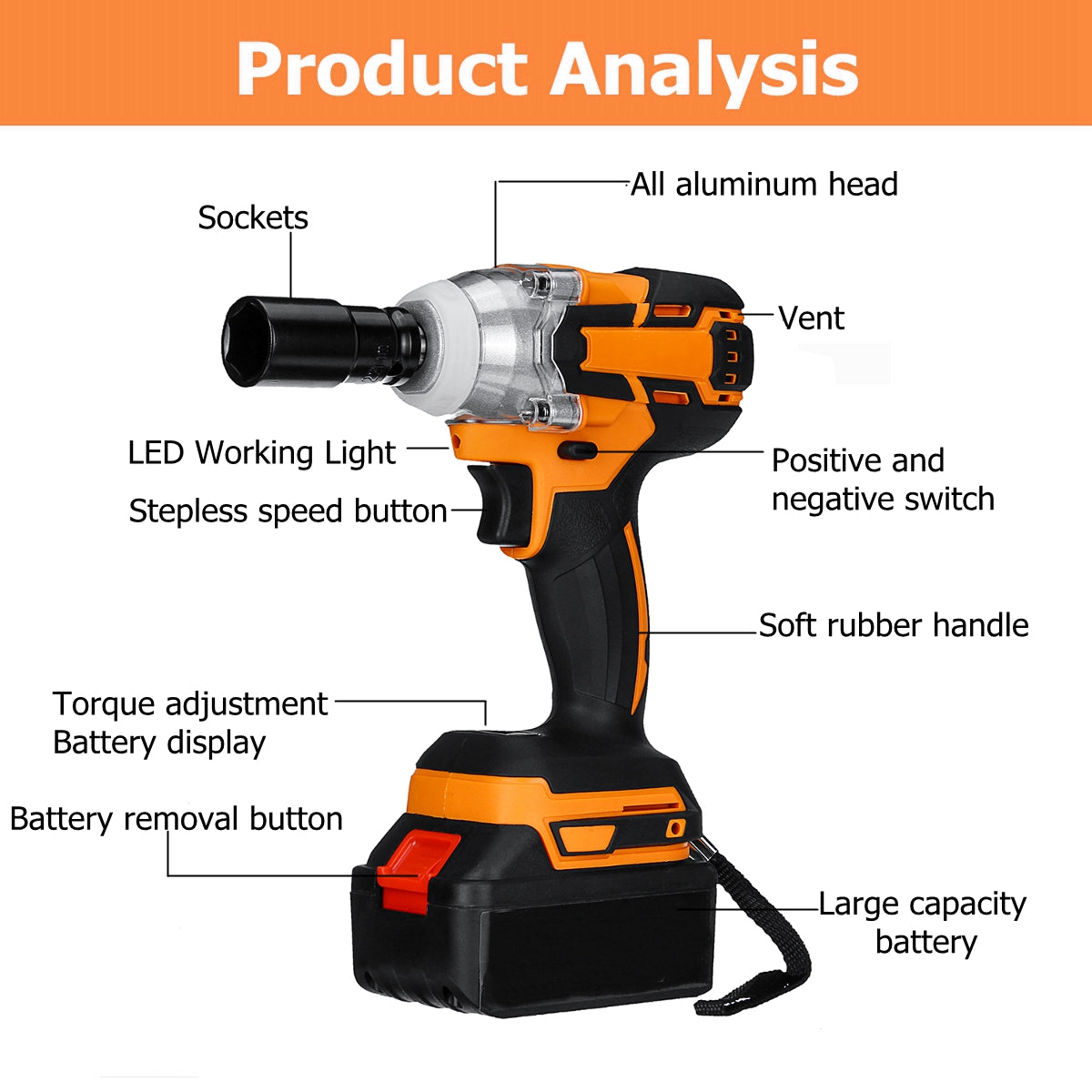 WrenchIt™ 20V 540Nm Electric Cordless Impact Wrench w/t 2x 28000mAh Battery