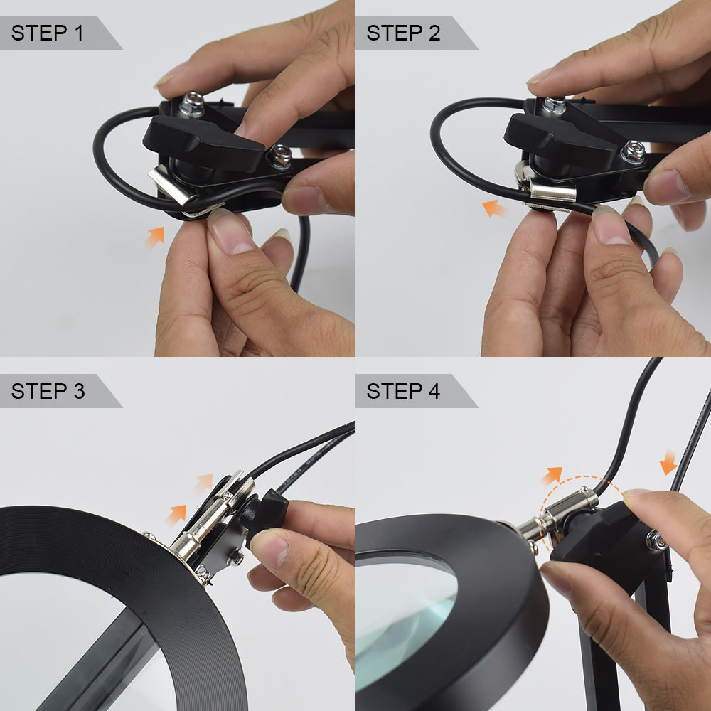 ZoomLamp™ USB 3-Color 5x Flexible Desk Ring LED Lighted Magnifying Glass Lamp