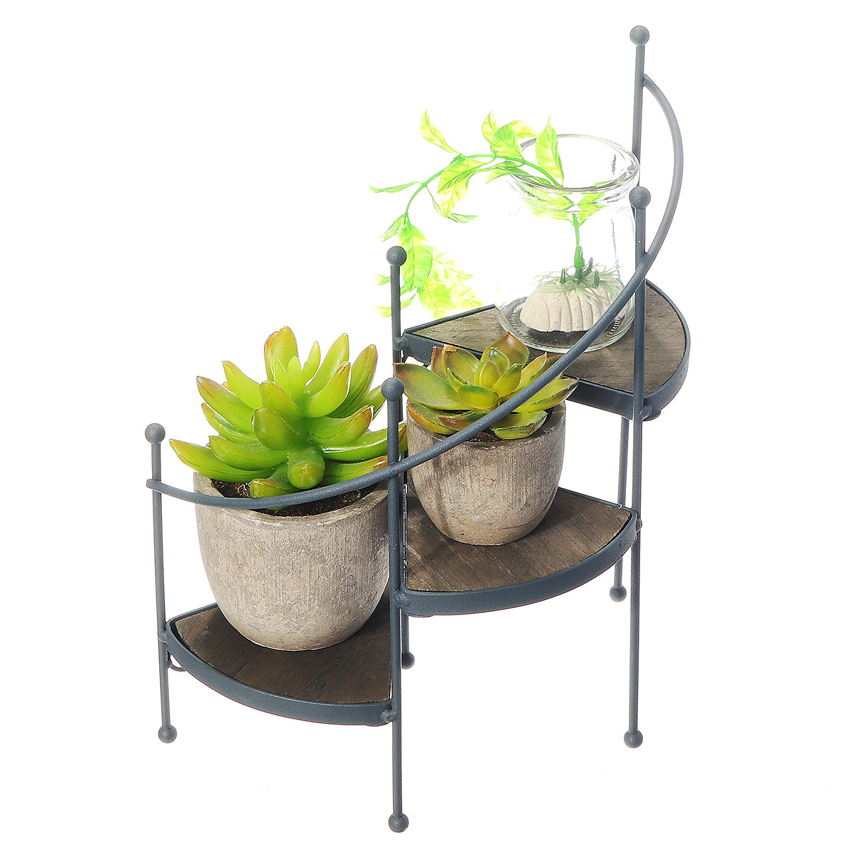 PlantDecor™ 3 Tier Spiral Wood & Iron Indoor/Outdoor Flower Staircase Plant Rack