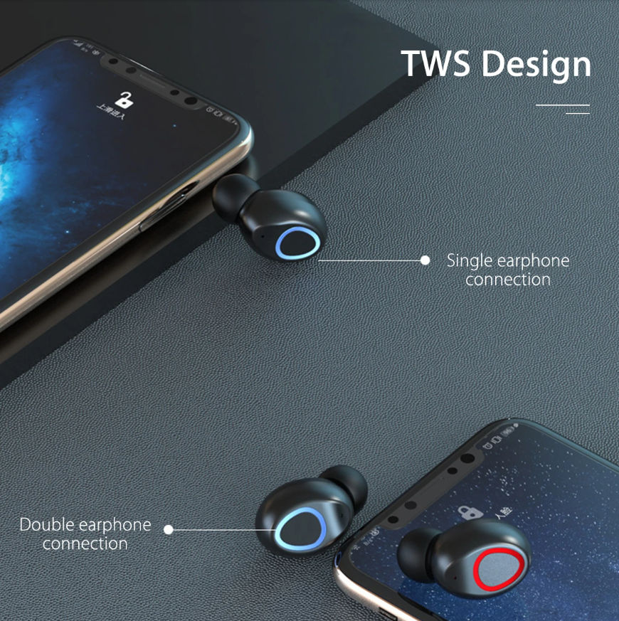 FitM™ TWS True Wireless Waterproof Workout Bluetooth Noise Cancelling Earbuds snowing single and double earphone connection modes