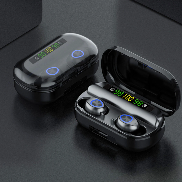 FitM™ TWS True Wireless Waterproof Workout Bluetooth Noise Cancelling Earbuds displayed with a top lid closed and opened.