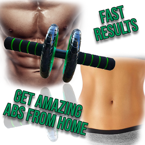 6PAC™ Ab Roller Wheel for Top Abs & Core Workout Exercises at Home with man's and woman's sixpack abs in the background