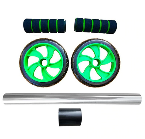 6PAC™ Ab Roller Wheel for Top Abs & Core Workout Exercises at Home displayed in its individual pieces