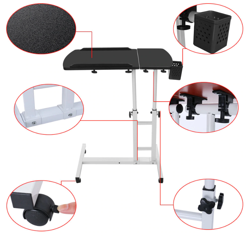 HoldMe™ Bedside Laptop Table Adjustable Mobile Desk with Wheels for Bed/Couch and its features
