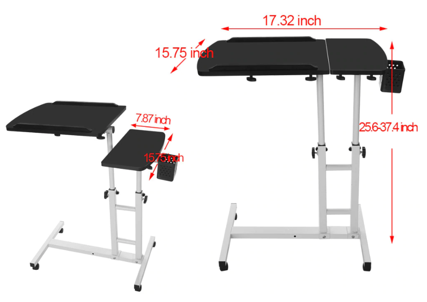 HoldMe™ Bedside Laptop Table Adjustable Mobile Desk with Wheels for Bed/Couch's dimensions