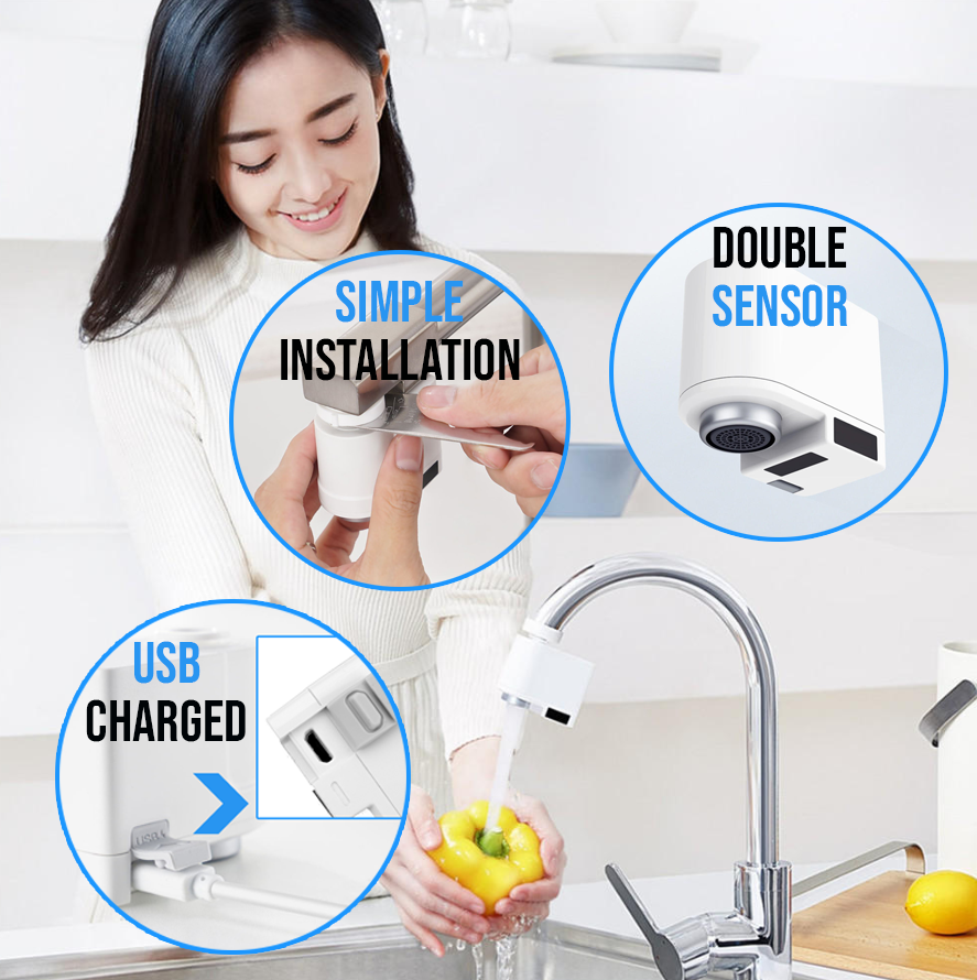 ZAIJA™ Touchless Kitchen/Bathroom Faucet - Hygienic Hands-Free Automatic Sensor Tap offers two modes of water flow, simple installation, and USB charging