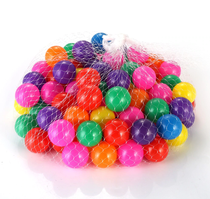 FitC™ 100pc Plastic Ball Pit Balls Pack for Baby/Kids Ball Pool comes neatly packed in a mesh bag.
