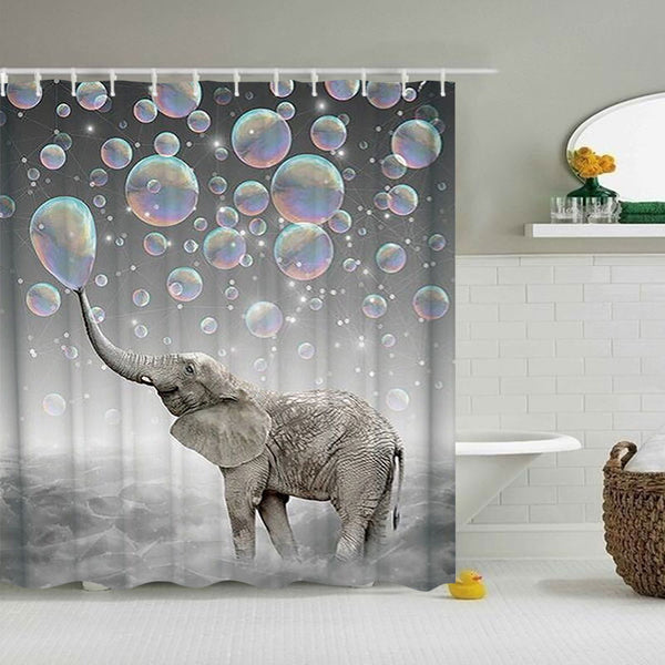 BathItm™ Unique Elephant Shower Curtain 4 Piece Bathroom Mats Decor Set