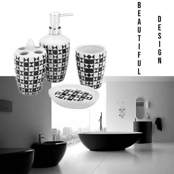 "BathItm™ Bath Accessory Set - 4pc Bathroom Decor Accessories on top of a stylish modern bathroom with the ""beautiful design"" text on the right hand side."