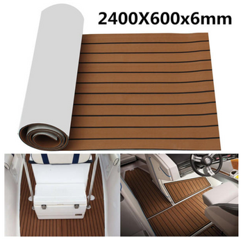 PadIt™ 2400x600x6mm Foam Brown With Black Line Boat Flooring Faux Teak Sheet Pad