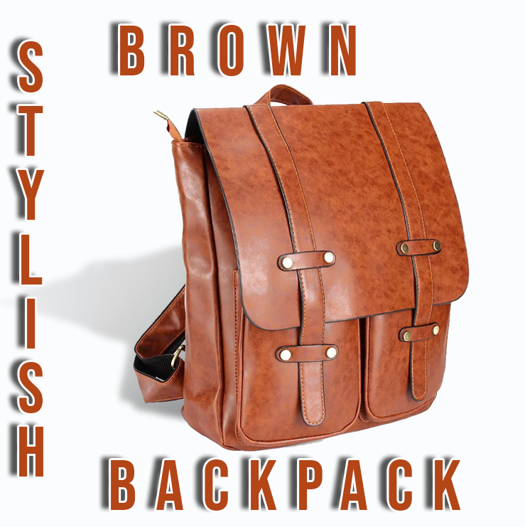 HoldMe™ Brown Leather Women Backpack - Office/School/Travel Bookbag presented on white background.