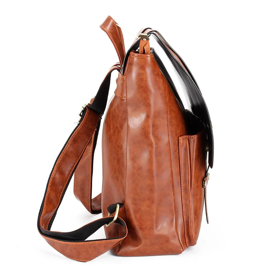 HoldMe™ Brown Leather Women Backpack - Office/School/Travel Bookbag